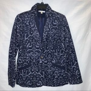 Cabi Jacquard Blue Wool Flocked Jacket Size 6